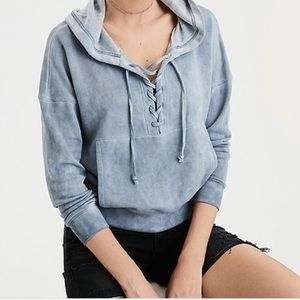 American Eagle Beachy Lace-up Hoodie